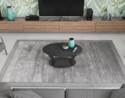 COFFEE TABLE OVALIA TITANIUM CERAMICS BLACK LACQUERED STEEL 95X60X43 CM (CT134TI)