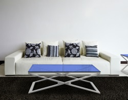 COFFEE TABLE OXANA BLUE TINTED BRUSHED STAINLESS STEEL 110x65x34 CM (CT112B)