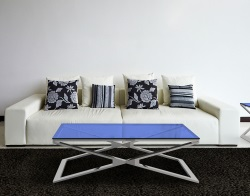 COFFEE TABLE OXANA BLUE TINTED POLISHED STAINLESS STEEL 110x65x34 CM (CT108B)
