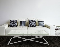 COFFEE TABLE OXANA CLEAR BRUSHED STAINLESS STEEL 130x80x34 CM (CT107C)