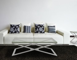 COFFEE TABLE OXANA CLEAR BRUSHED STAINLESS STEEL 110x65x34 CM (CT112C)