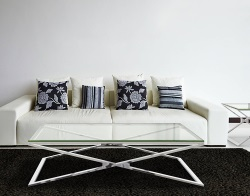 COFFEE TABLE OXANA CLEAR POLISHED STAINLESS STEEL 130x80x34 CM (CT104C)