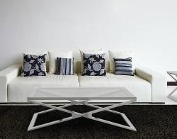 COFFEE TABLE OXANA CRYSTAL ACID ETCHED POLISHED STAINLESS STEEL 110x65x34 CM (CT108RA)