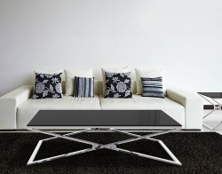 COFFEE TABLE OXANA LACQUERED BLACK POLISHED STAINLESS STEEL 130x80x34 CM (CT104LB)