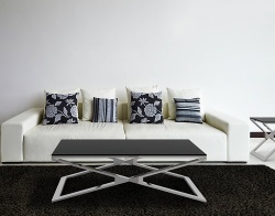 COFFEE TABLE OXANA LACQUERED BLACK POLISHED STAINLESS STEEL 110x65x34 CM (CT108LB)