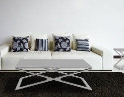 COFFEE TABLE OXANA LACQUERED GREY BRUSHED STAINLESS STEEL 110x65x34 CM (CT112LG)