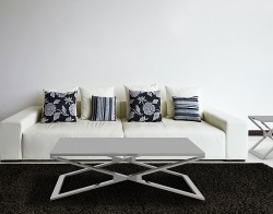 COFFEE TABLE OXANA LACQUERED GREY POLISHED STAINLESS STEEL 110x65x34 CM (CT108LG)