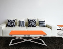 COFFEE TABLE OXANA LACQUERED ORANGE BRUSHED STAINLESS STEEL 110x65x34 CM (CT112LO)