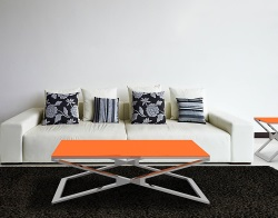 COFFEE TABLE OXANA LACQUERED ORANGE POLISHED STAINLESS STEEL 110x65x34 CM (CT108LO)