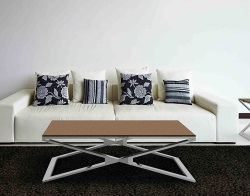 COFFEE TABLE OXANA SANDSTONE BROWN POLISHED STAINLESS STEEL 110x65x34 CM (CT108GB)