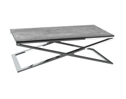 COFFEE TABLE OXANA SILVER CERAMICS POLISHED STAINLESS STEEL 110x65x34 CM (CT108SI)