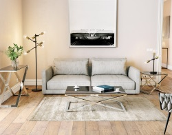 COFFEE TABLE OXANA TINTED GREY POLISHED STAINLESS STEEL 110x65x34 CM (CT108G)