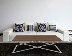 COFFEE TABLE OXANA WALNUT BRUSHED STAINLESS STEEL 110x65x34 CM (CT112N)