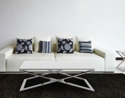 COFFEE TABLE OXANA WHITE ACID ETCHED POLISHED STAINLESS STEEL 110x65x34 CM (CT108LWA)