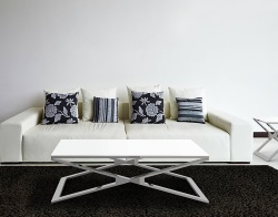 COFFEE TABLE OXANA WHITE LACQUERED POLISHED STAINLESS STEEL 110x65x34 CM (CT108LW)