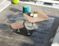 COFFEE TABLE QUATTRO ARGILE CERAMICS CHROMED STEEL FEET 80x80x45 CM (CT294AR)