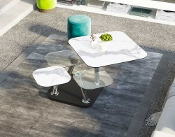 COFFEE TABLE QUATTRO MAT MARBLE CERAMICS CHROMED STEEL FEET 80x80x45 CM (CT294MA)