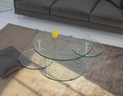 COFFEE TABLE ROUND CLEAR CHROMED STEEL 80(118)x80x45 CM (CT127C)