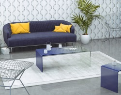 COFFEE TABLE SEURAT BLUE HOT BENT GLASS 120x60x40 CM (CT078BL)