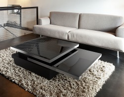 COFFEE TABLE SIGMA LACQUERED BLACK GLASS, POLISHED STAINLESS STEEL 120x80x33 CM (CT090B)