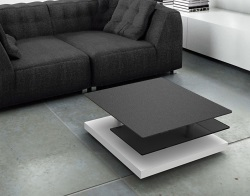 COFFEE TABLE SOPHIA CHARCOAL CERAMICS MDF LACQUERED AND CHROMED STEEL 72x72x38 CM (CT140CG2)