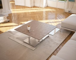 COFFEE TABLE SQUARE ARGILE CERAMICS CHROMED STEEL 80(118)X40 CM (CT128AR)