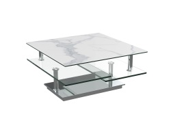 COFFEE TABLE SQUARE MAT MARBLE CERAMICS CHROMED STEEL 80(118)X40 CM (CT128MA)