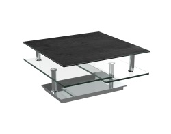 COFFEE TABLE SQUARE TITANIUM CERAMICS CHROMED STEEL 80(118)X40 CM (CT128TI)