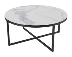 COFFEE TABLE TALIA LAQUÉ MAT MARBLE CERAMICS BLACK LACQUERED STEEL Ø90x40 CM (CT022MA)