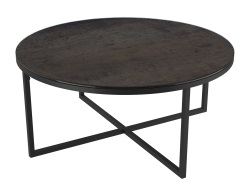COFFEE TABLE TALIA LAQUÉ STEEL CERAMICS BLACK LACQUERED STEEL Ø90x40 CM (CT022SD)