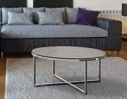 COFFEE TABLE TALIA ARGILE CERAMICS POLISHED STAINLESS STEEL Ø90x40 CM (CT023AR)