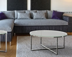 COFFEE TABLE TALIA CRYSTAL ACID ETCHED POLISHED STAINLESS STEEL Ø90x40 CM (CT023RA)