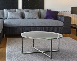 COFFEE TABLE TALIA CRYSTAL POLISHED STAINLESS STEEL Ø90x40 CM (CT023R)