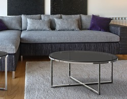 COFFEE TABLE TALIA GREY TINTED ACID ETCHED POLISHED STAINLESS STEEL Ø90x40 CM (CT023GA)