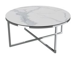 COFFEE TABLE TALIA MAT MARBLE CERAMICS POLISHED STAINLESS STEEL Ø90x40 CM (CT023MA)