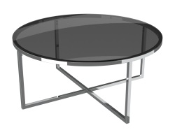 COFFEE TABLE TALIA TINTED GREY POLISHED STAINLESS STEEL Ø90x40 CM (CT023G)