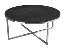 COFFEE TABLE TALIA TITANIUM CERAMICS POLISHED STAINLESS STEEL Ø90x40 CM (CT023TI)