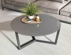 COFFEE TABLE TAMARA LAQUE MESH BLACK LACQUERED STEEL Ø90x40 CM (CT053MB)