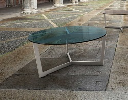 COFFEE TABLE TAMARA BLUE TINTED BRUSHED STAINLESS STEEL Ø90x40 CM (CT043B)