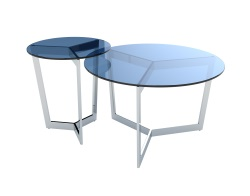 COFFEE TABLE TAMARA BLUE TINTED POLISHED STAINLESS STEEL Ø90x40 CM (CT033B)