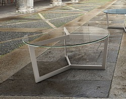 COFFEE TABLE TAMARA CRYSTAL BRUSHED STAINLESS STEEL Ø90x40 CM (CT043R)
