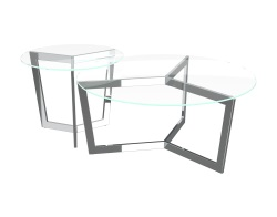 COFFEE TABLE TAMARA CRYSTAL POLISHED STAINLESS STEEL Ø90x40 CM (CT033R)