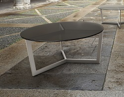 COFFEE TABLE TAMARA GREY TINTED ACID ETCHED BRUSHED STAINLESS STEEL Ø90x40 CM (CT043GA)