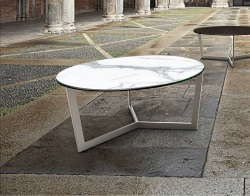 COFFEE TABLE TAMARA MAT MARBLE CERAMICS BRUSHED STAINLESS STEEL Ø90x40 CM (CT043MA)