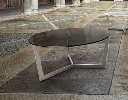 COFFEE TABLE TAMARA TINTED GREY BRUSHED STAINLESS STEEL Ø90x40 CM (CT043G)