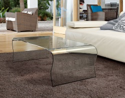 COFFEE TABLE TELMA CLEAR HOT BENT GLASS 120x66x40 CM (CT067)