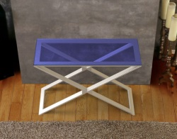 CONSOLE TABLE ALEXA BLUE TINTED BRUSHED STAINLESS STEEL 100x38x72 CM (ST018B)