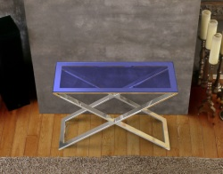 CONSOLE TABLE ALEXA BLUE TINTED POLISHED STAINLESS STEEL 100x38x72 CM (ST017B)