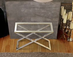 CONSOLE TABLE ALEXA CLEAR POLISHED STAINLESS STEEL 100x38x72 CM (ST017C)