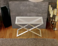CONSOLE TABLE ALEXA CRYSTAL ACID ETCHED BRUSHED STAINLESS STEEL 100x38x72 CM (ST018RA)